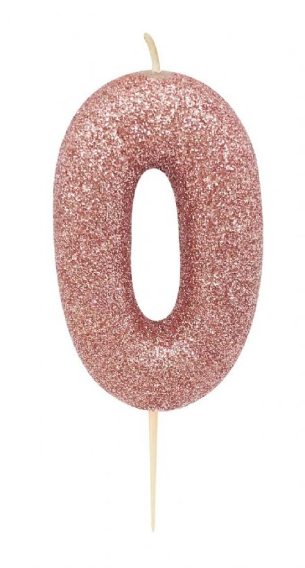 Number 0 Rose Gold Glitter Candle